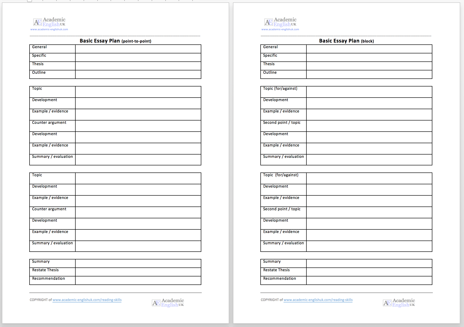 academic essay plan