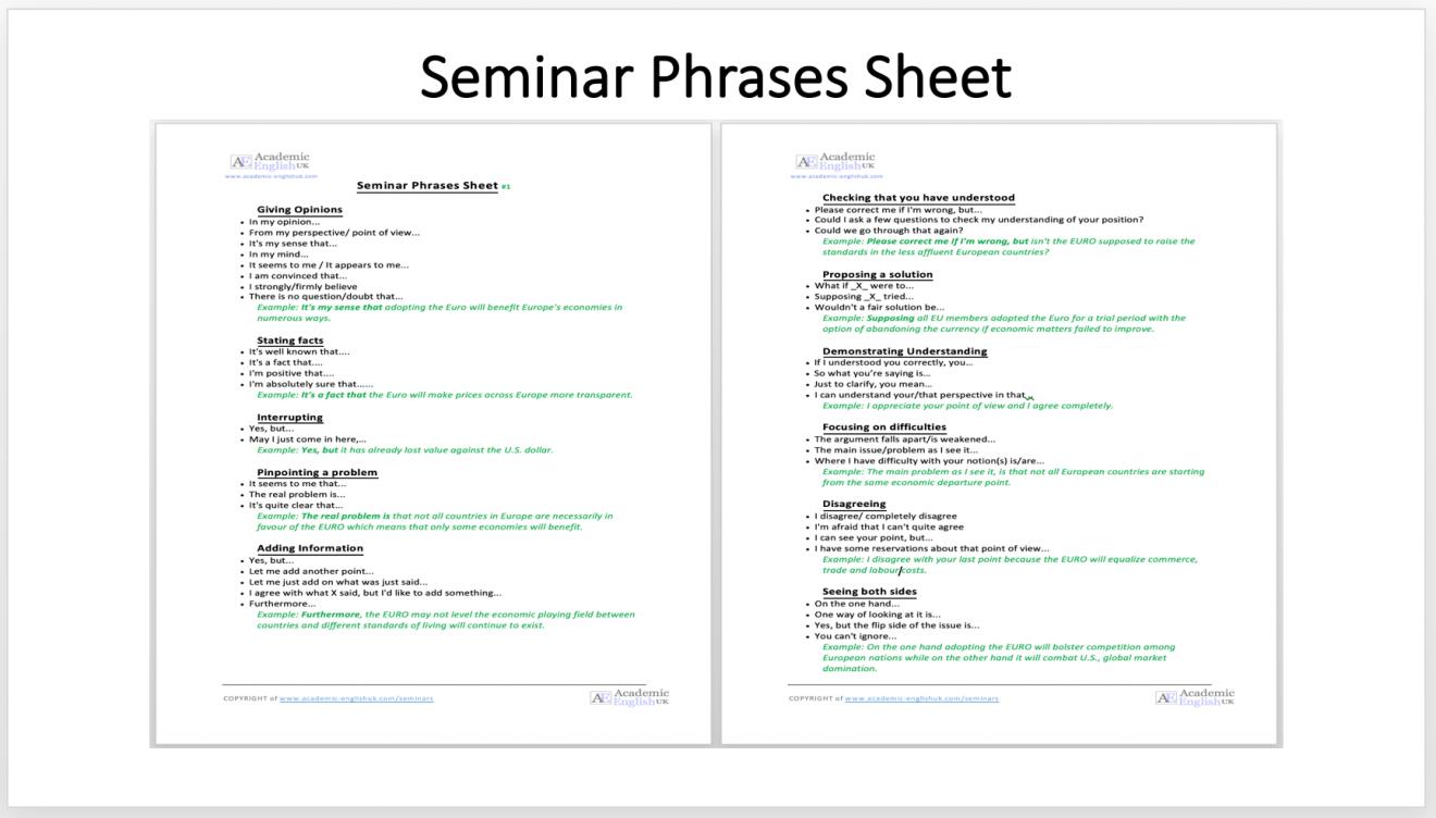 seminar phrase sheet
