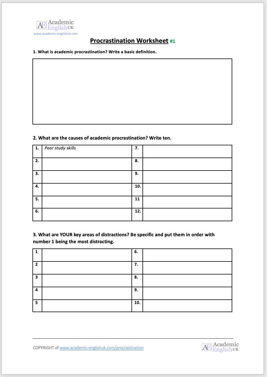 procrastination worksheet lesson