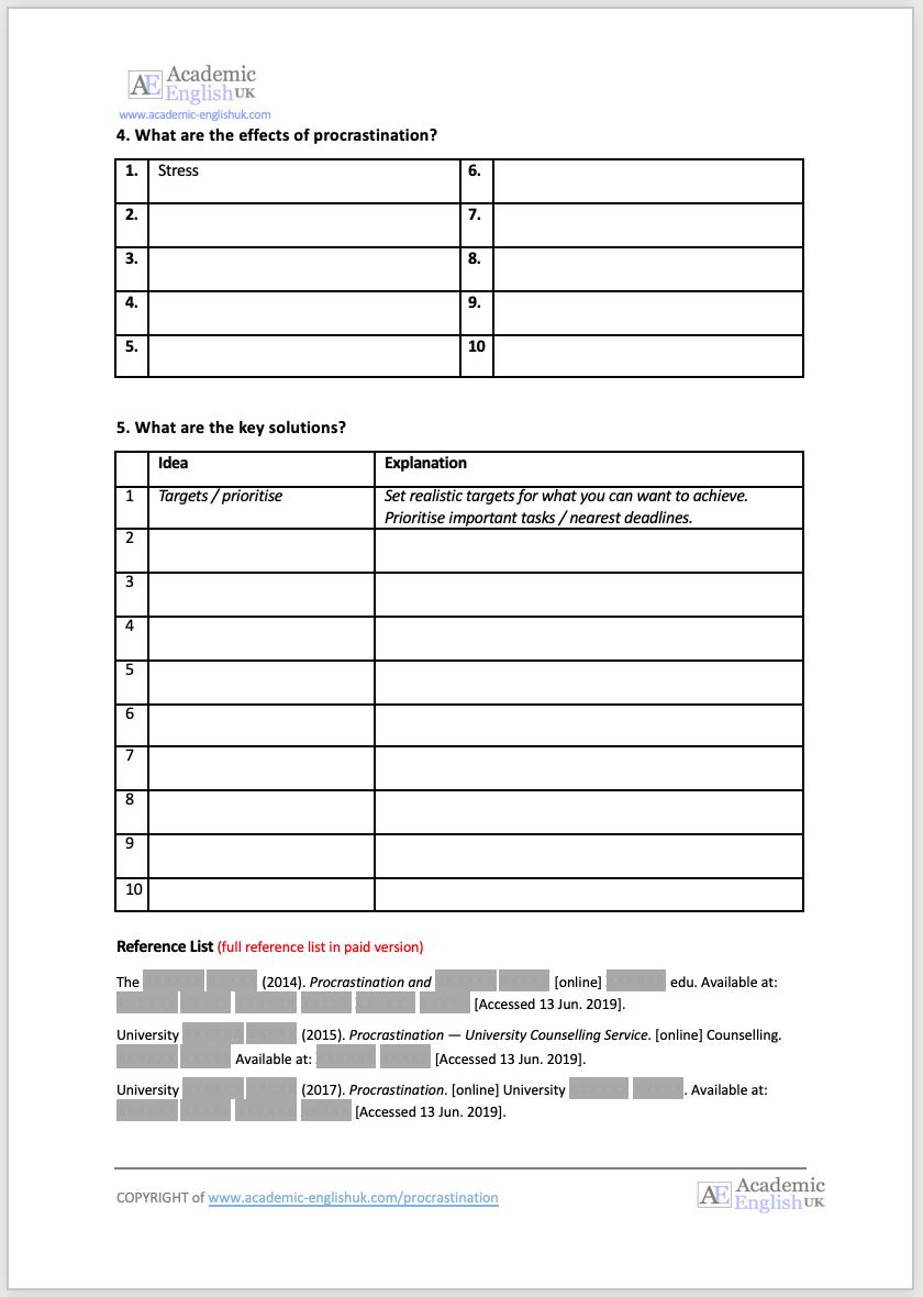 procrastination worksheet 2
