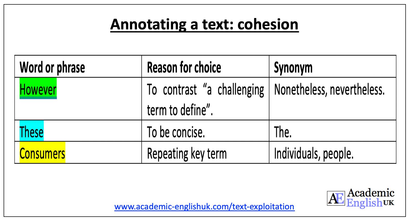 cohesion table academic English uk