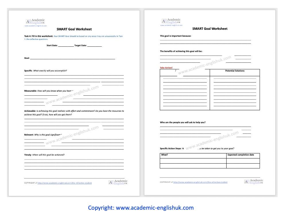 Smart Goals Worksheet AEUK