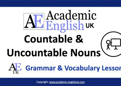 Academic countable & uncountable nouns